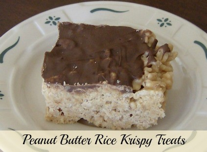 Peanut Butter Rice Krispy Treats - with chocolate butterscotch topping