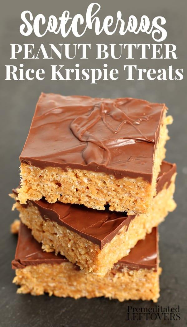 a stack of scotcheroos peanut butter rice krispie treats