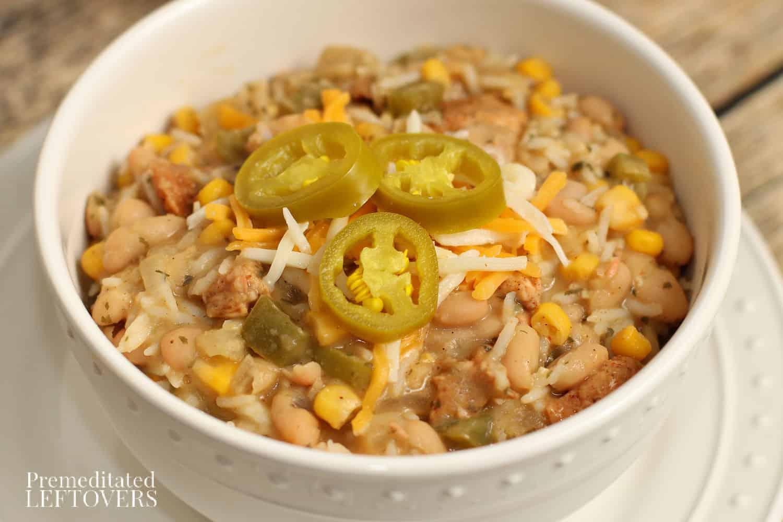 a bowl of homemade white chili
