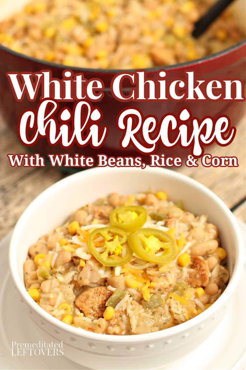 This hearty white chicken chili recipe is made with white beans, chicken, rice, and corn. This homemade white chili is a filling, family-friendly meal! A quick and easy recipe for white chicken chili!