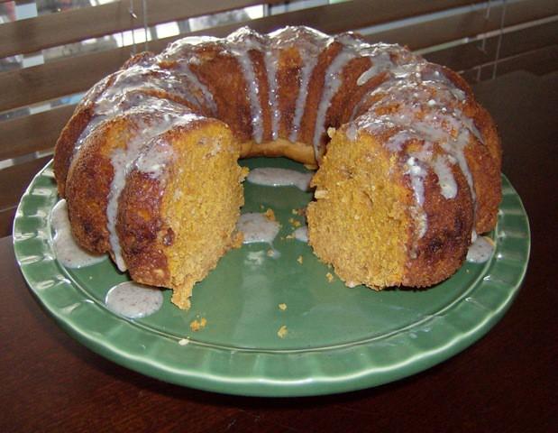 Pumpkin Pie Spice Bundt Cake Recipe using a boxed cake mix, pumpkin puree, and pumpkin pie spice.