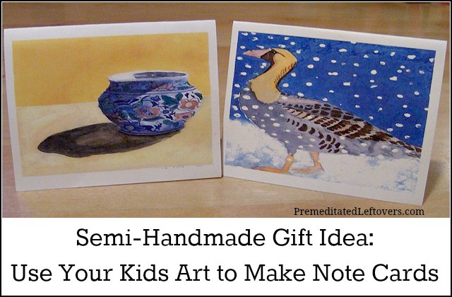 Use Kids Artwork to make Note Card Sets - Frugal Gift idea
