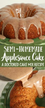 Easy applesauce cake made with a box of cake mix