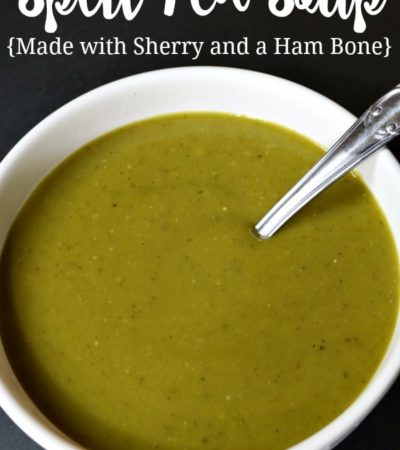 slow cooker split pea soup recipe made with sherry and a ham bone