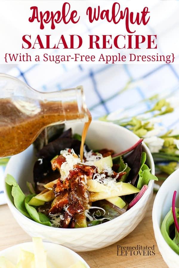 Apple Walnut Salad Recipe with a sugar free apple salad dressing recipe