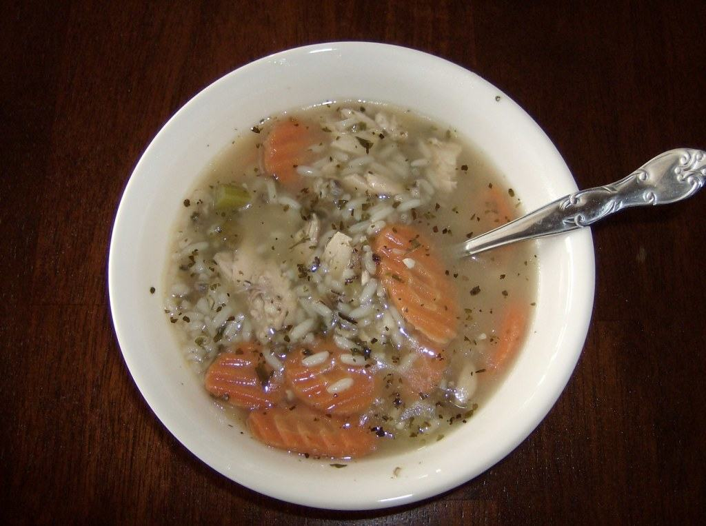 chicken and rice soup recipe made with leftover chicken and rice
