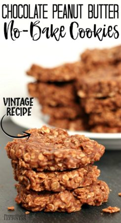 a batch of homemade chocolate peanut butter no-bake cookies using oatmeal instead of flour