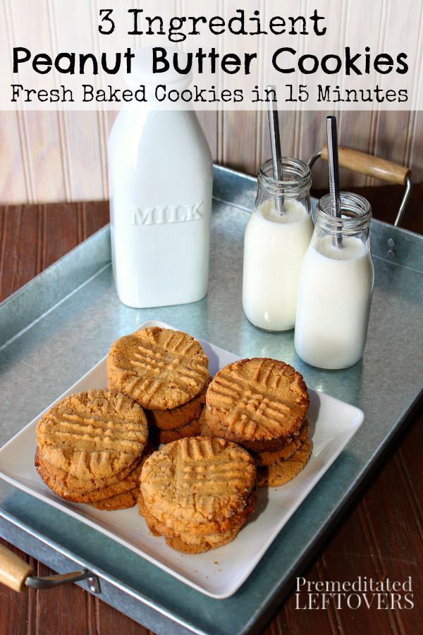 3 Ingredient Peanut Butter Cookies - These quick and easy peanut butter cookies use peanut butter, egg, and sugar and can be baked in less than 15 minutes.