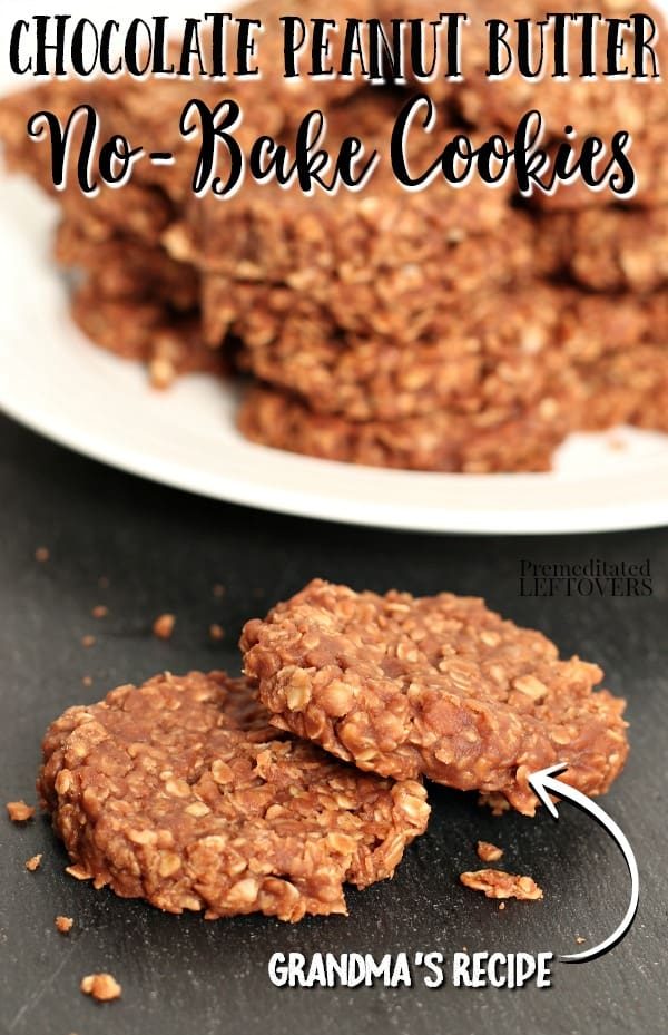 Easy no-bake chocolate peanut butter cookies recipe.