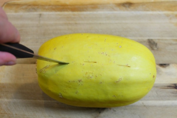 Pierce the Spaghetti squash with a knife before putting it in the microwave on high