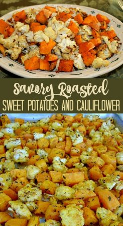 Savory Roasted Sweet Potatoes and Cauliflower Recipe