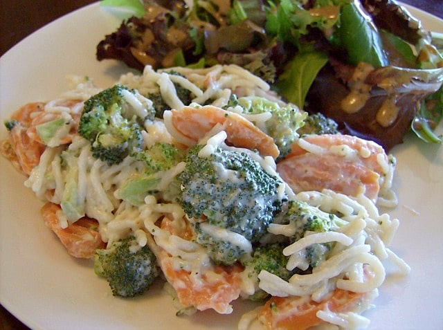 Pasta Alfredo Recipe with Vegetables -Frugal Meatless Meal