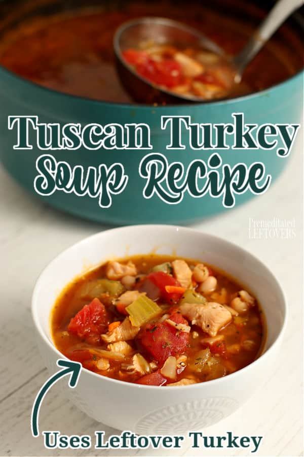 Ladling homemade Tuscan turkey soup from pot to bowl