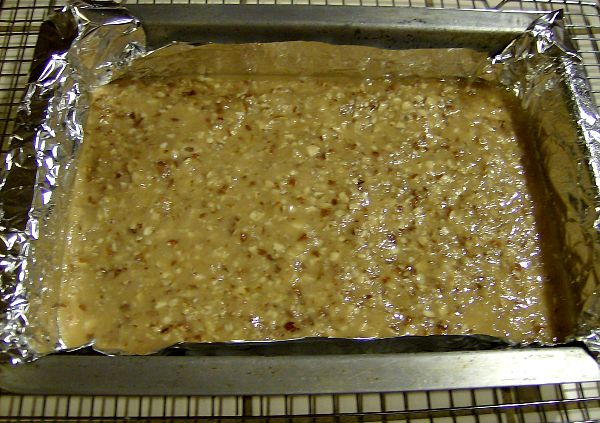 Pour toffee mixture into prepared pan.