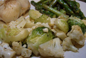 Roasted Cauliflower and Brussel Sprouts