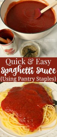 Fast and easy spaghetti sauce recipe using pantry staples.