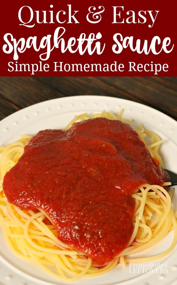 This quick and easy spaghetti sauce recipe is made using canned tomato sauce, garlic powder, onion powder, and Italian seasoning. So delicious and flavorful, yet it only takes 15 minutes to make.
