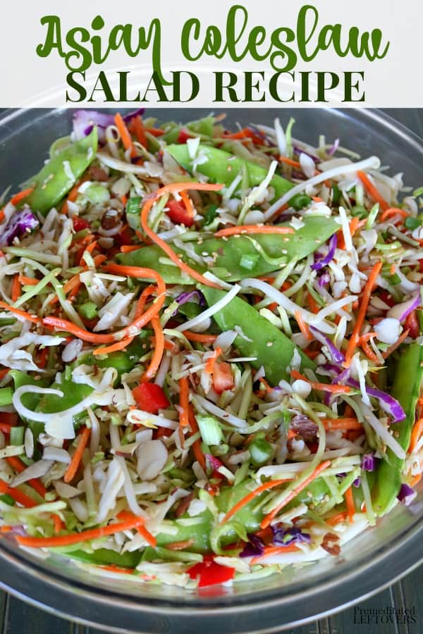 A healthy Asian Coleslaw recipe with lots of vegetables and an Asian slaw dressing. The snow peas and almond slivers provide the crunch. This is an easy make-ahead salad.