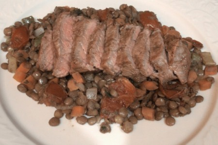 Curry Steaks with Spicy Lentils Recipe