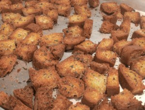 Recipes using croutons made from leftover or stale bread