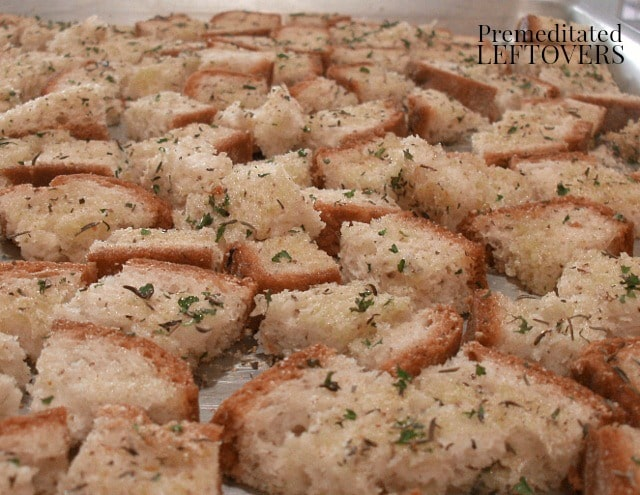 Quick and Easy Homemade Garlic and Onion Croutons made with bread slices, olive oil, and spices.