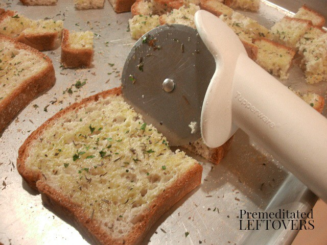Use a pizza cutter to quickly cut bread into cubes when making croutons.