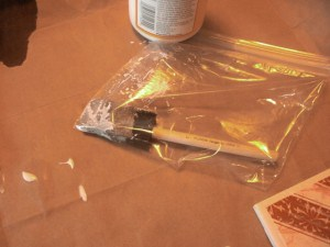 Tip - store brush in plastic bag to keep it from drying out between applying layers of mod podge
