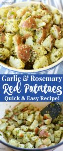 Easy stovetop garlic and rosemary red potatoes recipe.