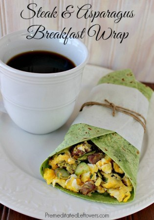 Spring Breakfast Wrap with Steak, Asparagus, and Smoked Bacon Sandwich Spread