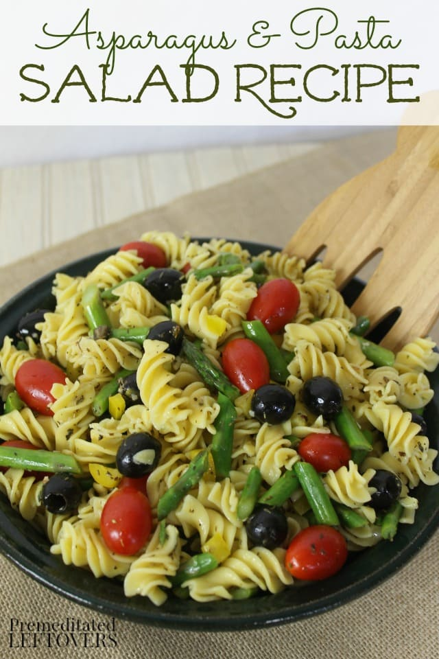 This quick and easy Asparagus and Pasta Salad recipe has a bright flavor. This meatless pasta salad recipe includes asparagus, olives,tomatoes, and peppers.