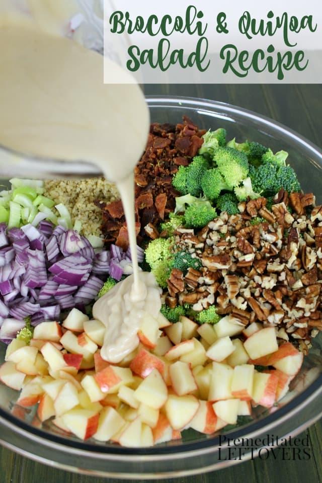 Easy Broccoli and Quinoa salad Recipe. Quinoa makes a hearty addition to broccoli salad. Includes broccoli, quinoa, apple, pecans, bacon, and onions.