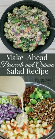 Make-Ahead Broccoli and Quinoa Salad Recipe - A delicious twist on broccoli salad. Serve as a side dish at a potluck or as a a meal for lunch