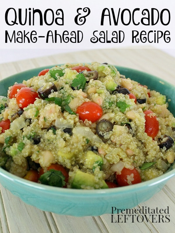 This quick and easy Quinoa and Avocado Salad Recipe can be served as a hearty side dish or a delicious meatless meal. Includes a honey-lime dressing recipe.