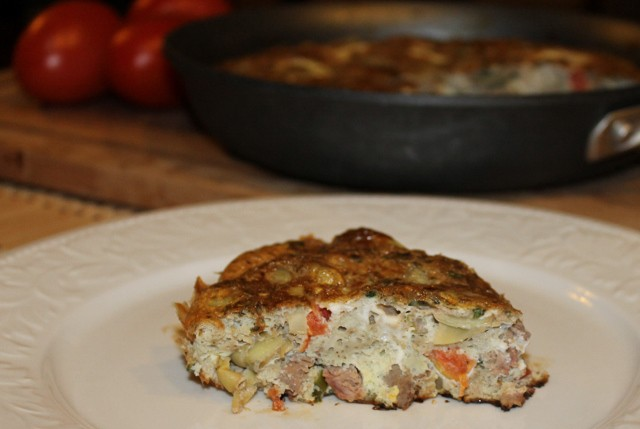 Quick and easy recipe for Artichoke and Steak Frittata