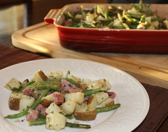 Quick and Easy Roasted Potato and Ham Casserole Recipe with Green Beans