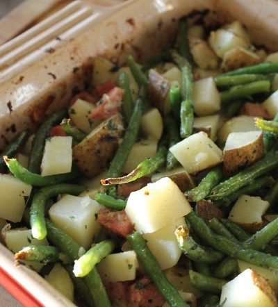 This Roasted Potato and Ham Casserole recipe is a delicious way to use leftover ham. This is a quick and easy recipe for potato and ham casserole includes green beans.