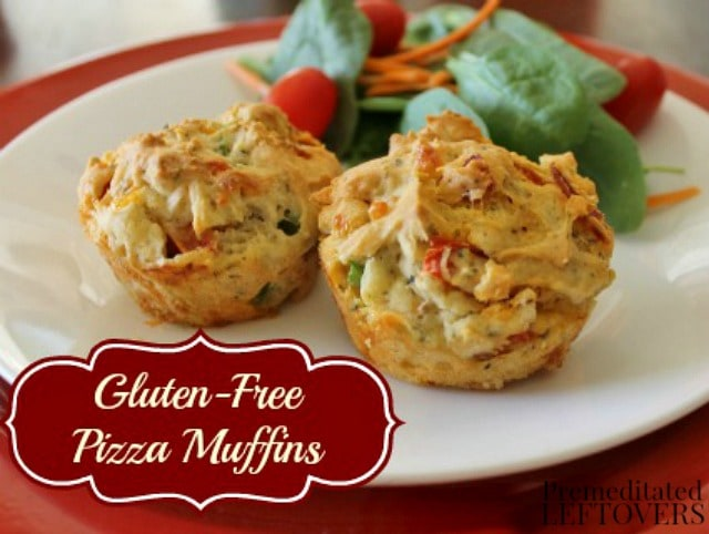 This delicious gluten-free pizza muffin recipe makes an easy gluten-free lunch, a savory breakfast, or a quick dinner. It includes dairy-free options.