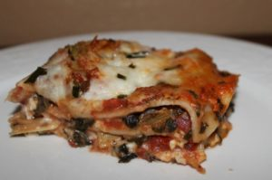 Vegetable Lasagna with Artichokes and spinach - vegetarian recipe
