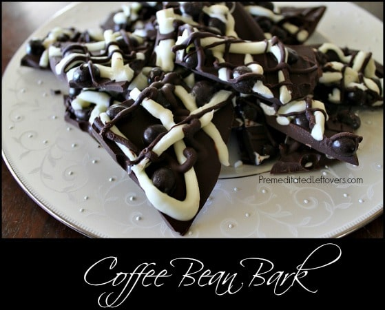 Coffee Bean Bark Recipe - An easy recipe for coffee bean bark using dark chocolate, white chocolate and chocolate covered coffee beans.