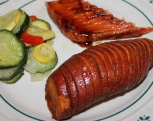 Hasselback Sweet Potatoes Recipe with cinnamon honey glaze