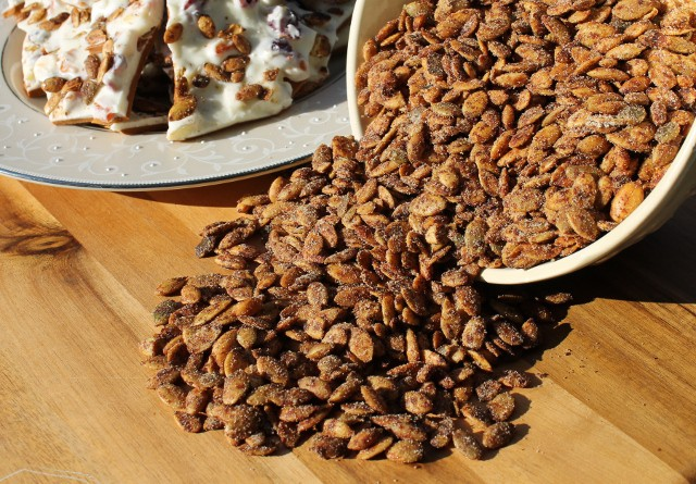 Pumpkin Pie Spiced Roasted Pumpkin Seeds