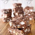 Rocky Road Fudge Recipe - A delicious chocolate fudge recipe with miniature marshmallows and nuts in it. Includes tip to keep the marshmallows from melting.