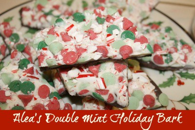 Peppermint Bark with Mint Chips and Candy Canes