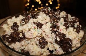Candy cane chocolate, white chocolate and popcorn