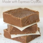 easy mocha fudge recipe made with espresso crystals