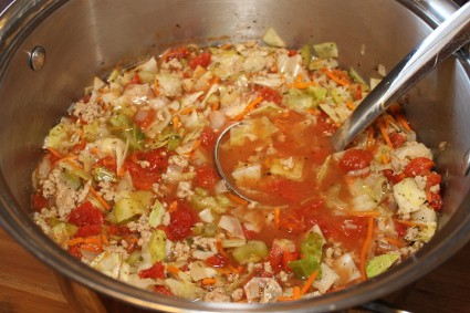 Cabbage Roll Soup Cooking