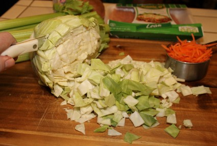 Cabbage Roll Soup - cutting cabbage