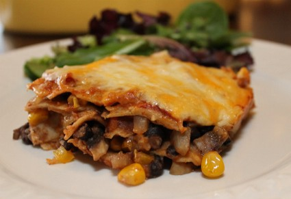 Mushroom and Black Bean Enchilada Casserole Recipe (425x291)