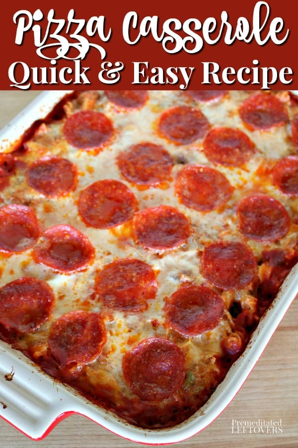 This quick and easy pizza casserole recipe is a favorite with kids! Use your favorite pizza toppings to make a pizza pasta bake. The recipe uses raw pasta and the noodles cook in the oven.
