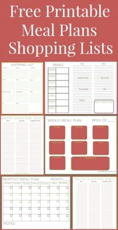 Free Printable Meals Plans Shopping List and Pantry Inventory Lists